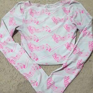 Music note long sleeve crop top shirt